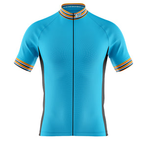 Big and Tall Mens Blue Stripe Cycling Jersey