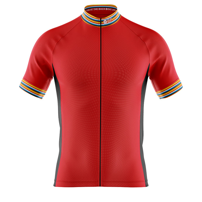 Big and Tall Mens Red Stripe Cycling Jersey