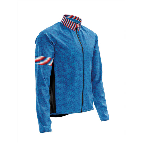 Big and Tall Mens Wind Water Resistant Cycling Jacket in Graphic Blue
