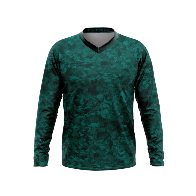 Big and Tall Mens Green Camo Mountain Bike Long Sleeve Jersey