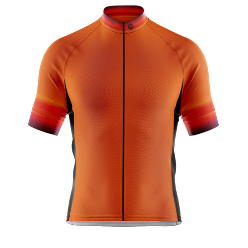 Mens Fleet Cycling Jersey in Hi Vis Horizon Orange
