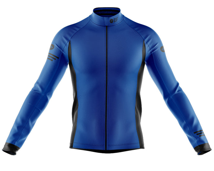 Big and Tall Mens Blue Jaggered Long Sleeve Heavy Weight Jersey