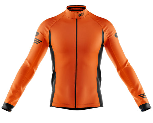 Mens Orange Jaggered Long Sleeve Heavy Weight Jersey