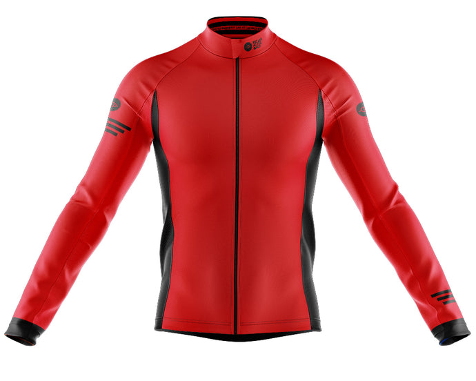 Mens Red Jaggered Long Sleeve Heavy Weight Jersey