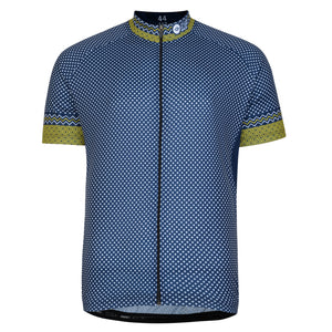 Mens Yellow/Blue Cross Cycling Jersey