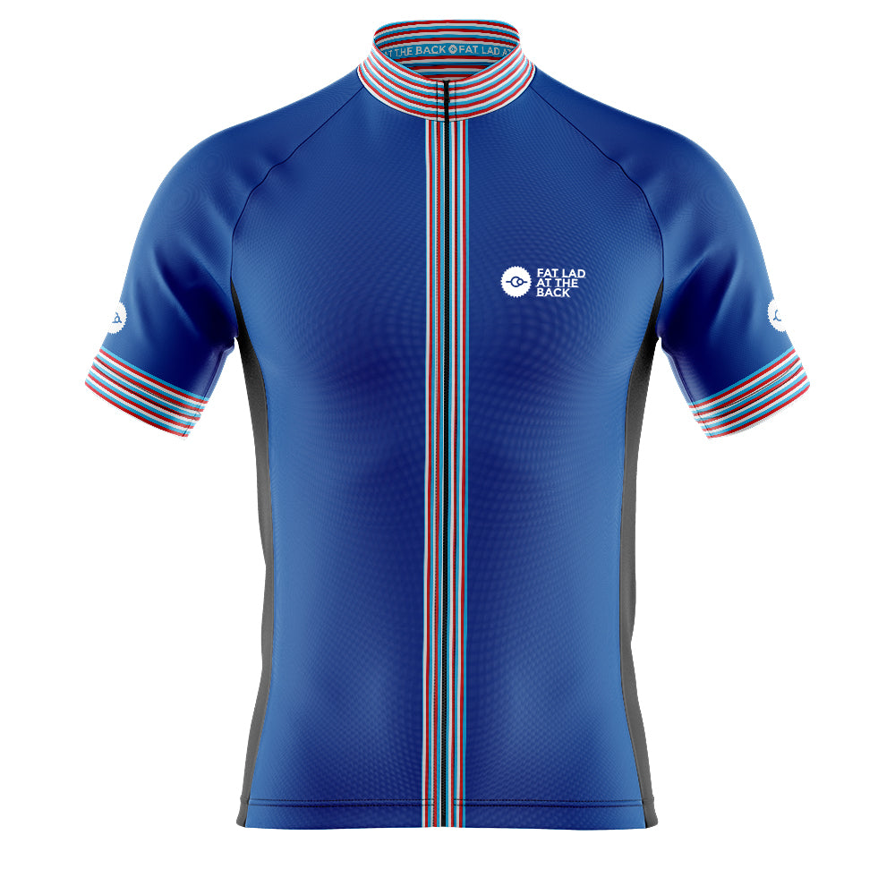 Big and Tall Mens Blue Classic Cycling Jersey