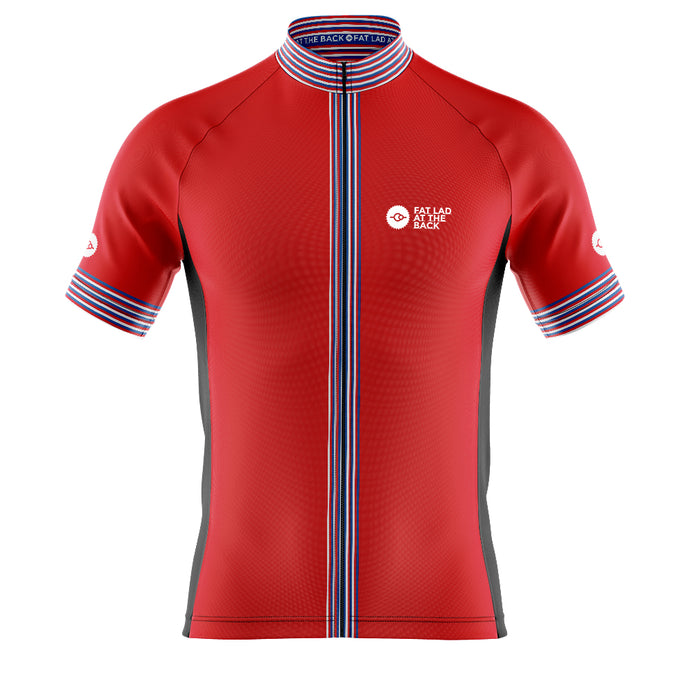 Big and Tall Mens Red Classic Cycling Jersey