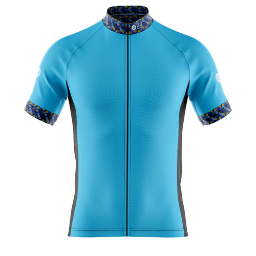 Big and Tall Mens Cove Cycling Jersey in Funky Blue