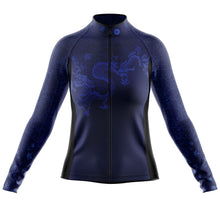 Load image into Gallery viewer, Women's Blue Oriental Heavyweight Thermal Long Sleeve Cycling Jersey