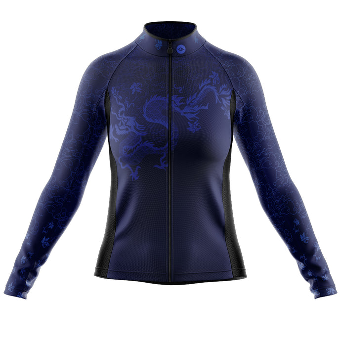 Women's Blue Oriental Heavyweight Thermal Long Sleeve Cycling Jersey
