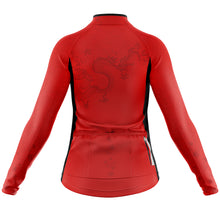 Load image into Gallery viewer, Women's Red Oriental Heavyweight Thermal Long Sleeve Cycling Jersey