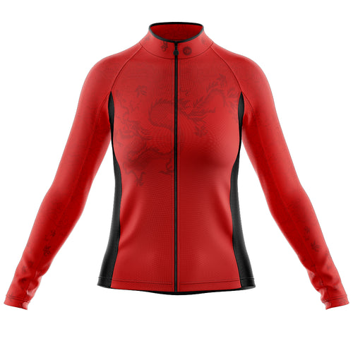 Women's Red Oriental Heavyweight Thermal Long Sleeve Cycling Jersey