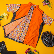 Load image into Gallery viewer, Women's Cove Cycling Jersey in Flower Power Orange