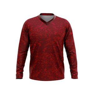Big and Tall Mens Red Camo Mountain Bike Long Sleeve Jersey