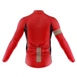 Mens Red Stripe Windproof Cycling Jersey