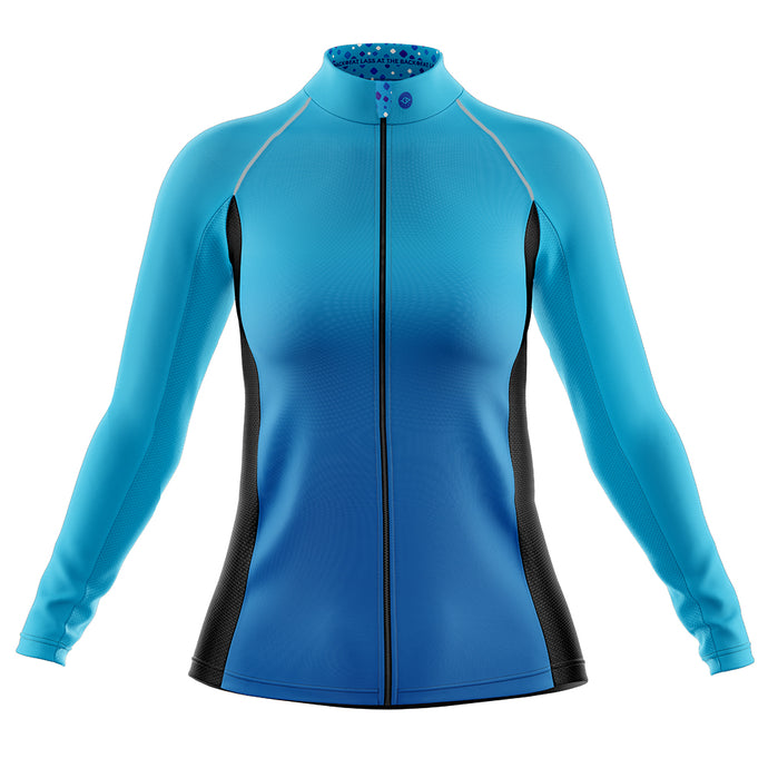 Women's Blue Squircle Cycling Rain Jacket