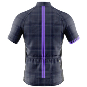 Big and Tall Mens Cove Cycling Jersey in Check Purple