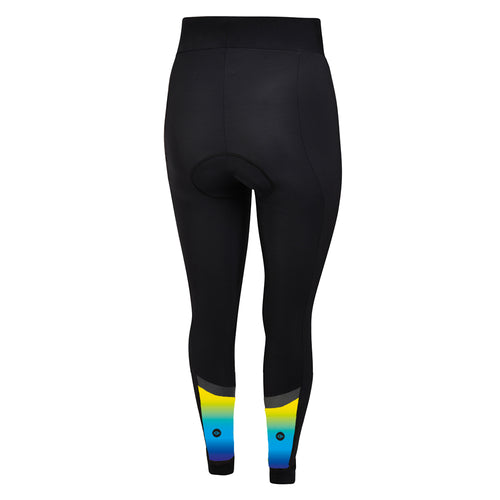 Women's Yellow/Blue Winter Thermal Padded Cycling Tights