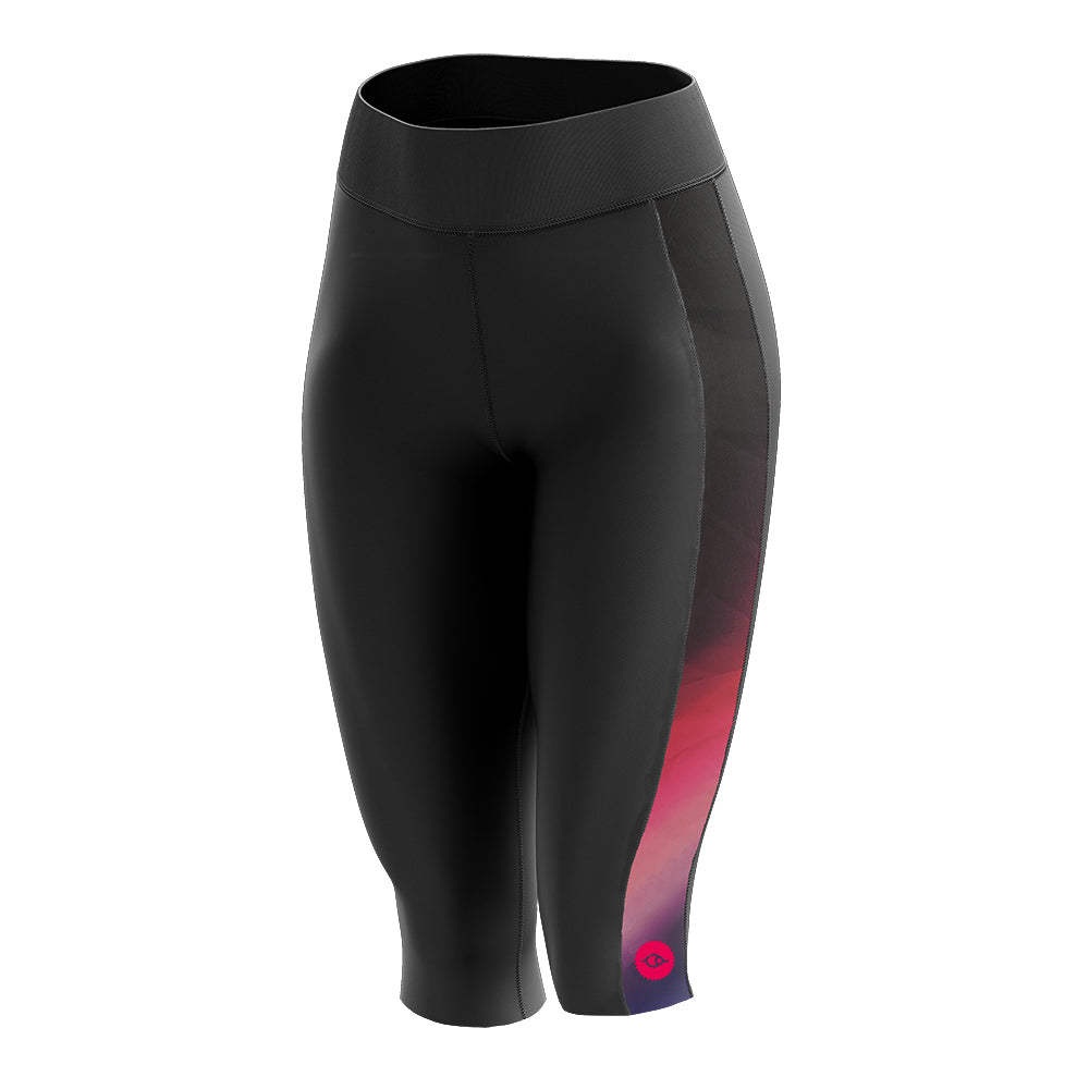 Women's Padded 3/4 Cycling Leggings in Horizon Pink