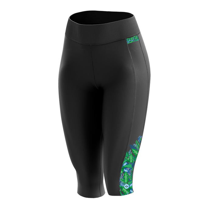 Women's Green Palm Padded Cycling Leggings