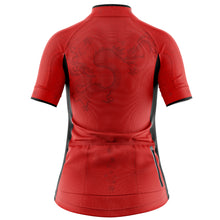 Load image into Gallery viewer, Women's Red Oriental Cycling Jersey