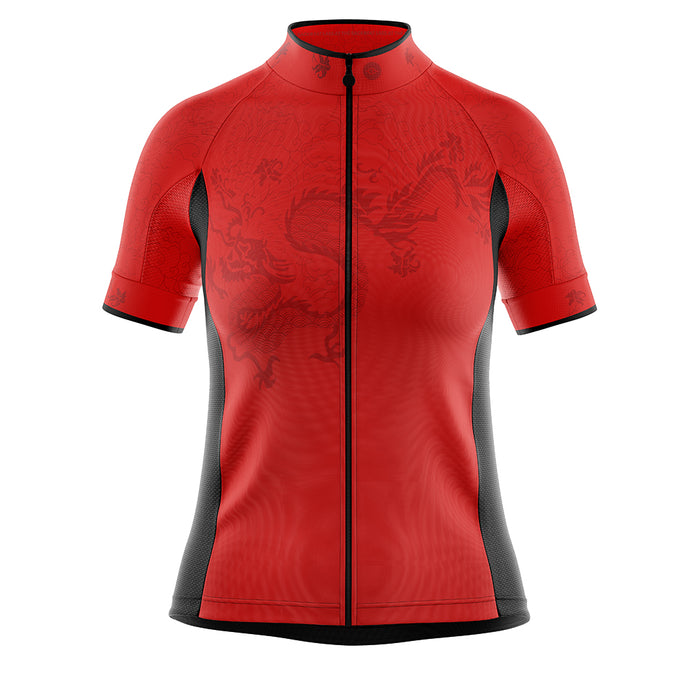 Women's Red Oriental Cycling Jersey