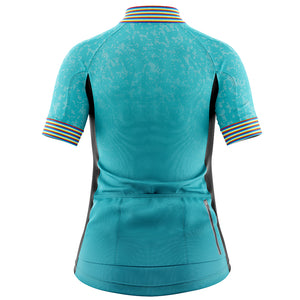 Women's Turquoise Stripey Cycling Jersey - DUE END JUNE