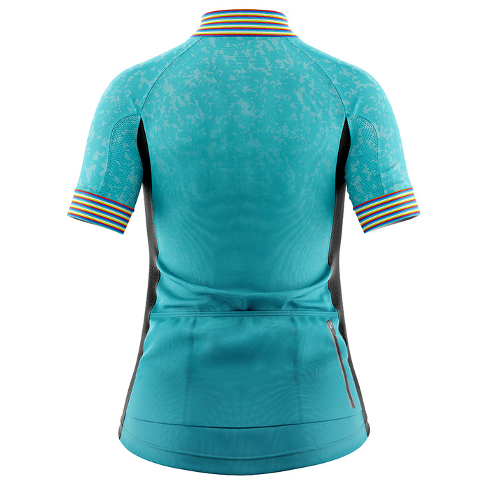 Women's Turquoise Stripey Cycling Jersey