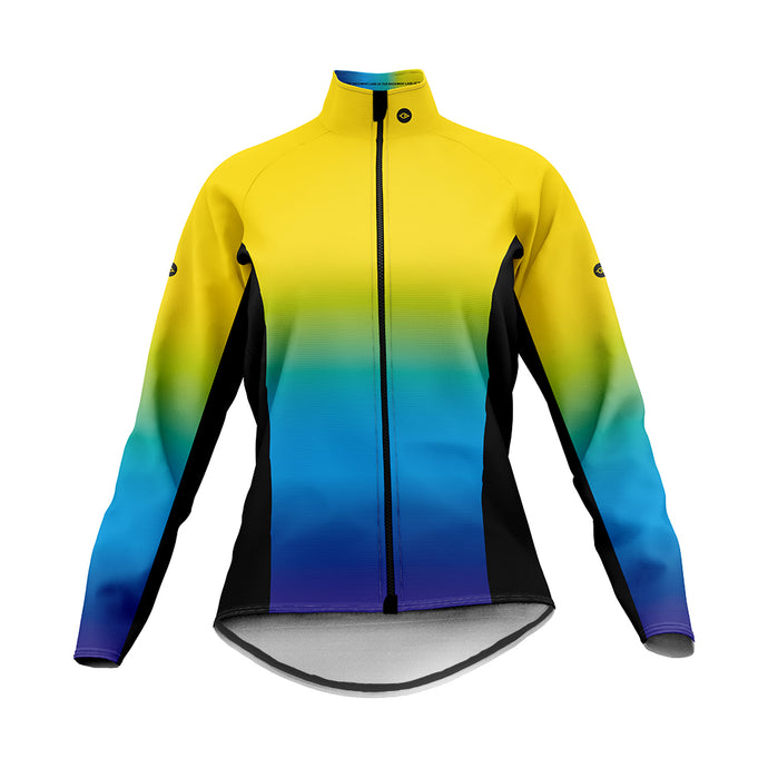 Women's Yellow and Blue Graduated Winter Cycling Jacket