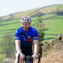 Load image into Gallery viewer, Mens Blue Union Jack Cycling Jersey