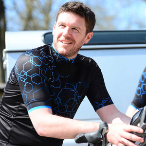 Mens Blue Hexy Cycling Jersey