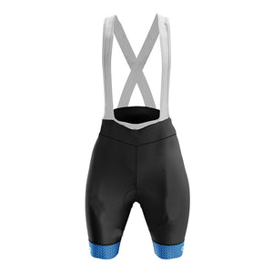 Women's Blue Geo Padded Cycling Bib Shorts