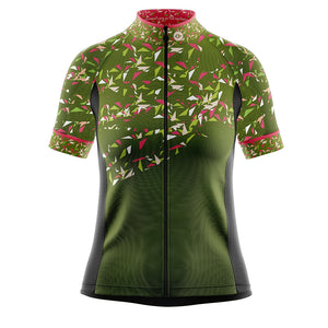 Women's Green Flutter Cycling Jersey