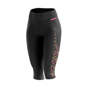 Women's Green Flutter Padded Cycling Leggings