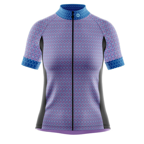 Women's Purple Geo Cycling Jersey