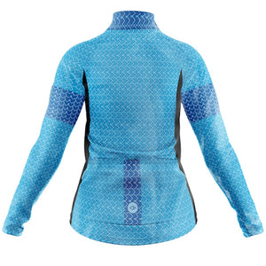 Women's Blue Geo Cycling Rain Jacket