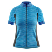 Load image into Gallery viewer, Women's Blue Geo Cycling Jersey