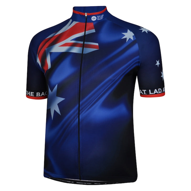 Big and Tall Mens Blue Aussie Flag Cycling Jersey