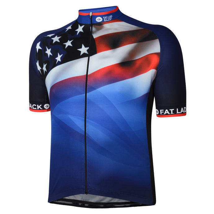 Mens Blue Stars and Stripes Cycling Jersey