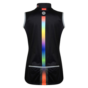 Women's Black Rainbow Cycling Gilet