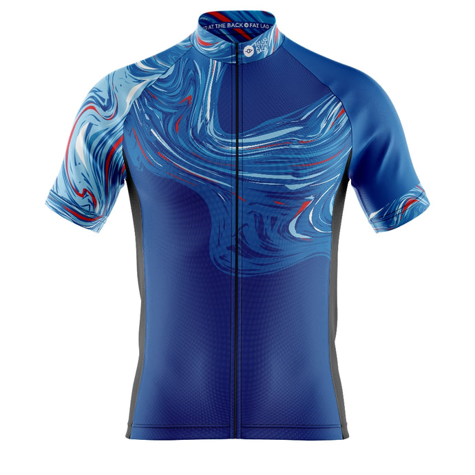 Big and Tall Mens Blue Marbleous Cycling Jersey