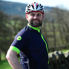 Load image into Gallery viewer, Mens Navy/Lime Premium Ginnel Cycling Jersey