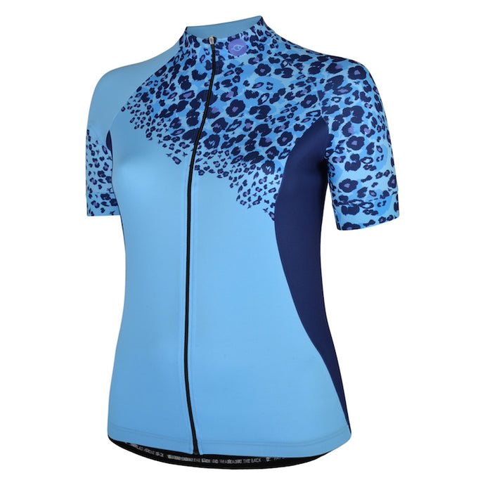 Women's Blue Leopard Bet Lynch Cycling Jersey