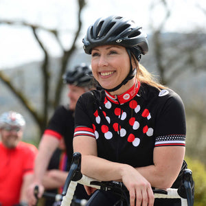 Women's Red Dotty Red Cycling Jersey