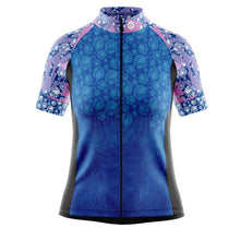 Load image into Gallery viewer, Women's Blue Tropical Cycling Jersey