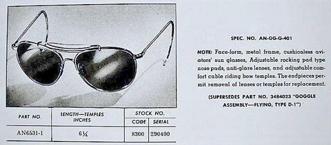 AN6531-1 Military Sunglasses produced by various manufactures including American Optical Company