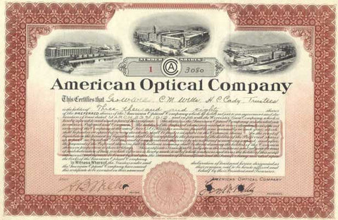The Original American Optical Company stock certificate for 3,080 shares
