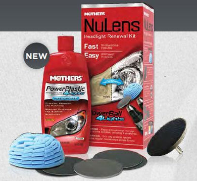 Mothers 07251 Headlight Restoration Kit; NuLens; With Drill Powered Buffer/ 8 Ounce Polish/ Four Lens Restoration Discs/ 3 Inch Backing Plate