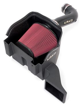 Airaid 301-220 Cold Air Intake; Cold Air Dam (CAD); Black Polyethylene Tube; Red SynthaMax Filter; With Heat Shield 5.7L HEMI