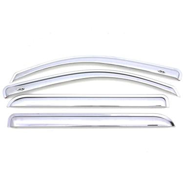 Auto Ventshade (AVS) 684975 Rainguard; Ventvisor; Aerodynamic Design; Tape-On; Chrome; Acrylic; Set of 4 Ford